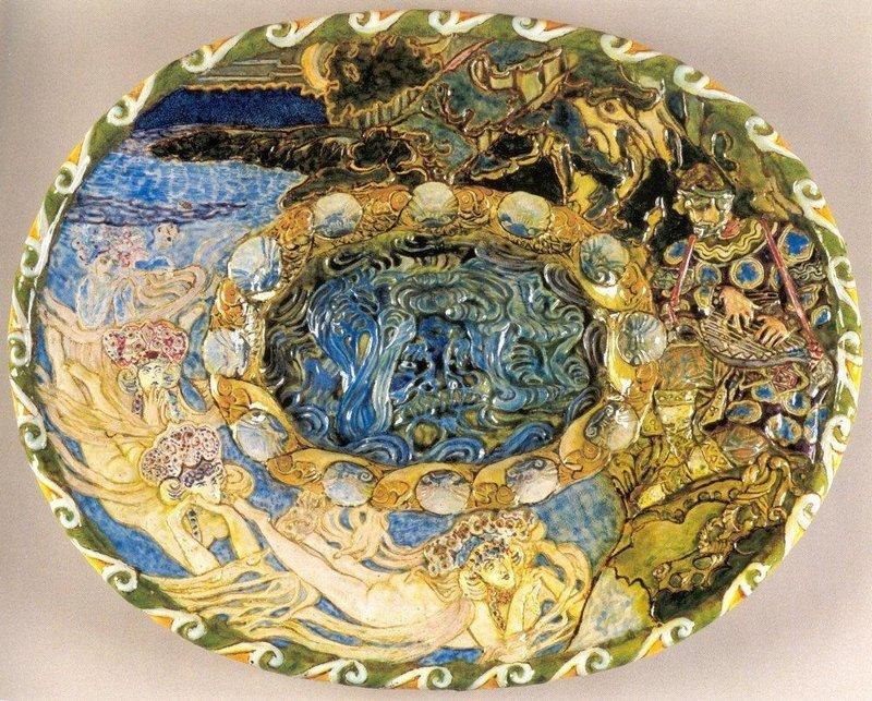 """Художник-керамист – это еще одно направление творческой деятельности Михаила Александровича Врубеля. Уникальность его таланта также можно увидеть его произведения в скульптуре и графике. Блюдо """"Садко"""", 1890 Врубель, биография, великие имена, искусство, картины, керамика, творчество, художник"""