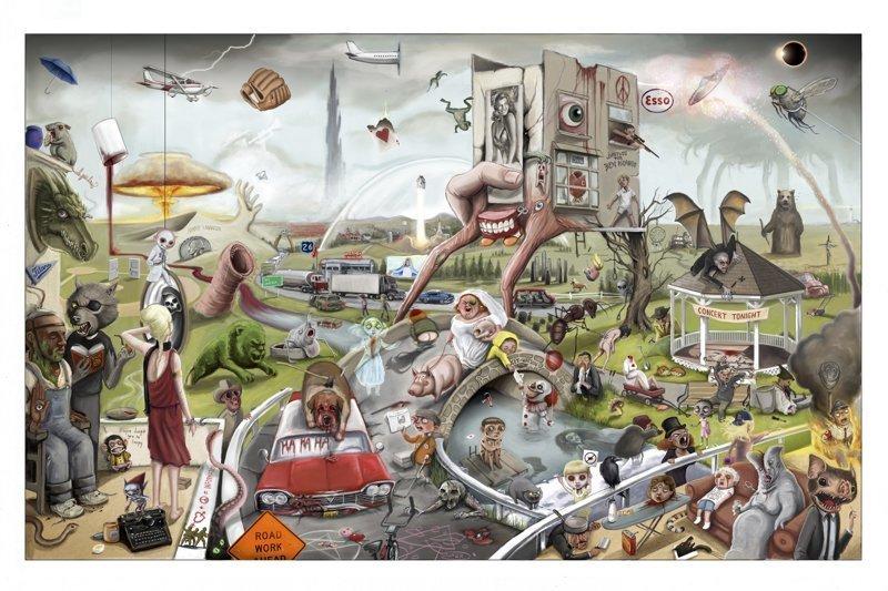 170 отсылок к произведениям Стивена Кинга на одном постере кино, постер, рисунок, стивен кинг, фильм