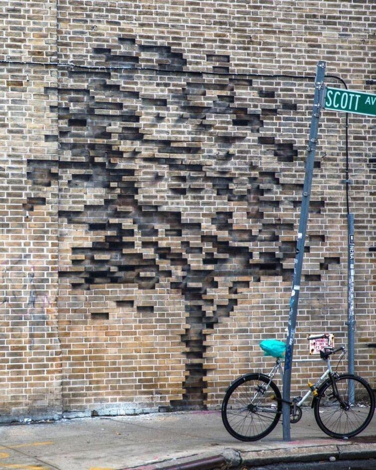Следы исчезающей природы в городской среде art, в мире, кирпич, красота, люди, рисунок, художник
