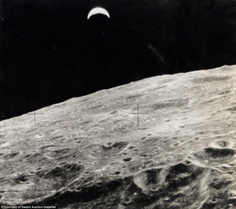 """Снимок Луны, сделанный во время одной из миссий """"Аполлон"""" Apollo, gemini, nasa, Программа Меркурий, космические запуски, космические миссии, космос, фотоархив"""