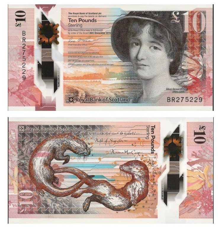 10 фунтов стерлингов (Шотландия) в мире, денежная банкнота, деньги, купюра, рисунок