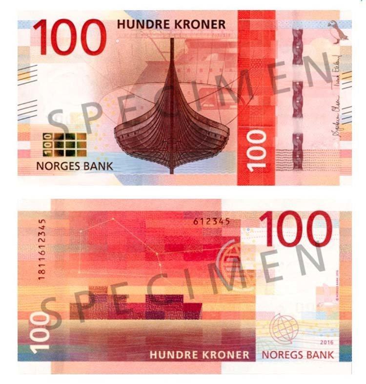 100 крон (Норвегия) в мире, денежная банкнота, деньги, купюра, рисунок