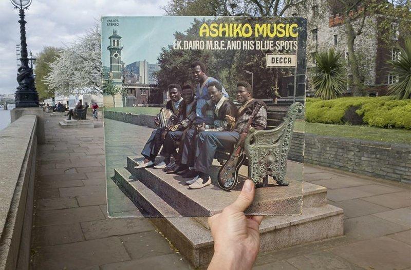 45 лет спустя виниловые пластинки, воссоздание, годы спустя, музыкальные альбомы, обложки альбомов, обложки виниловых пластинок, пластинки, фотопроект