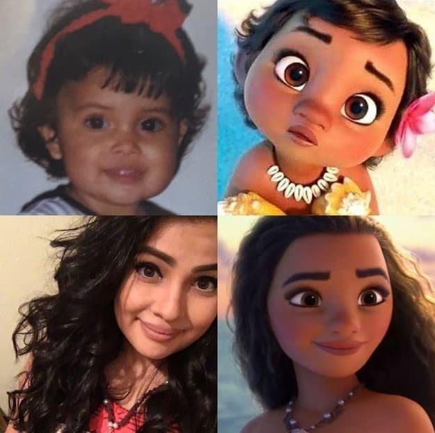 """Эта девчушка в точности напоминают главную героиню мультфильма """"Моана"""" в детстве близнецы мультяшек, дисней, забавно, как живой, мультики, похоже да не то же, удивительное сходство, юмор"""