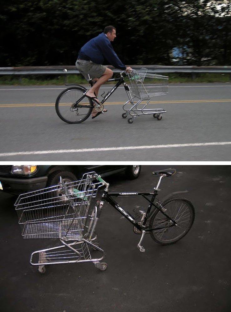 Продуктовая тележка - это отличная замена колесу в велосипеде магазин, магазинная тележка, прикол, приколы из супермаркета, продуктовая тележка, супермаркет, тележка, юмор