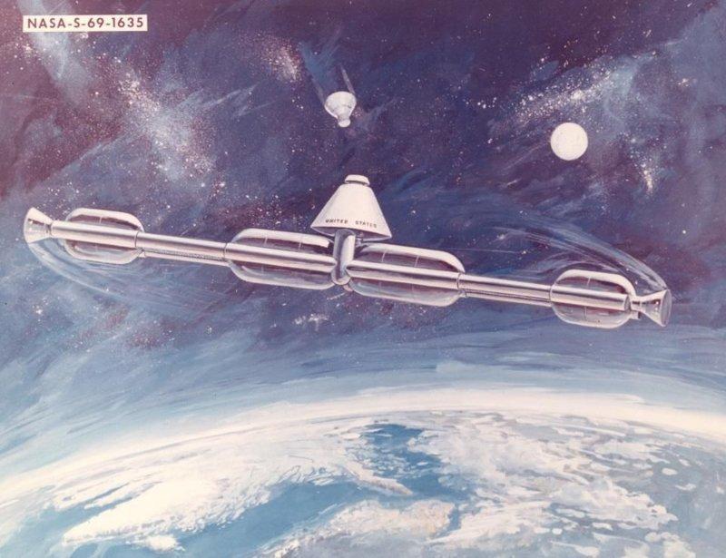 """Концепция космической станции 1969 года, которую предполагалось собирать на орбите из использованных ступеней программы """"Аполло"""". Станция должна была вращаться вокруг центральной оси и порождать искусственную гравитацию гравитация, интересно, космонавты, космос, факты"""