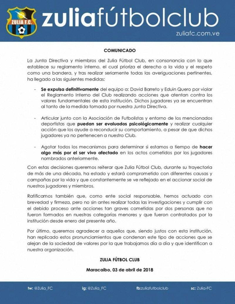 """Руководство """"Сулии"""" публично осудило действия своих игроков и выпустило официальное заявление Сулия, венесуэла, живодерство, животные, издевательство, кот, футболист"""