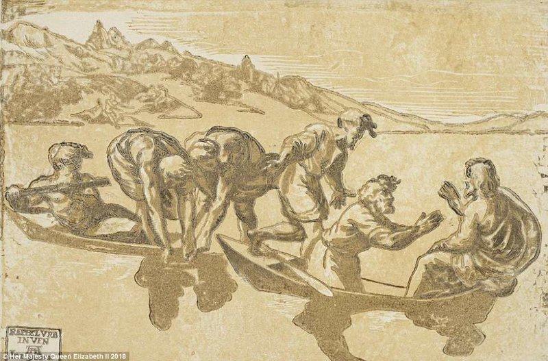 """Рисунок 1540 года с картины Рафаэля Санти """"Чудесный улов рыбы"""". В коллекции принца Альберта хранится множество эскизов Рафаэля. англия, исторические кадры, история, колоризированные фото, королева Виктория, королевская семья, редкие фото, фото"""