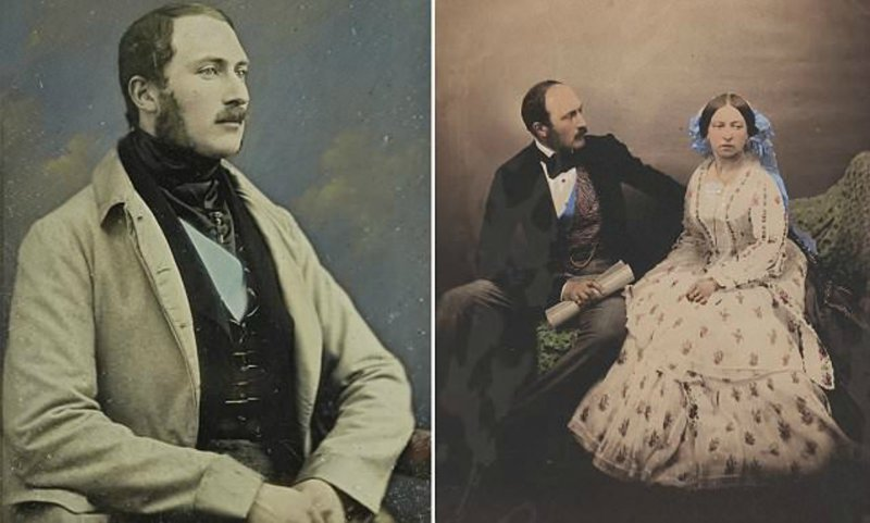 Королева Виктория и принц Альберт: королевский архив в цвете англия, исторические кадры, история, колоризированные фото, королева Виктория, королевская семья, редкие фото, фото