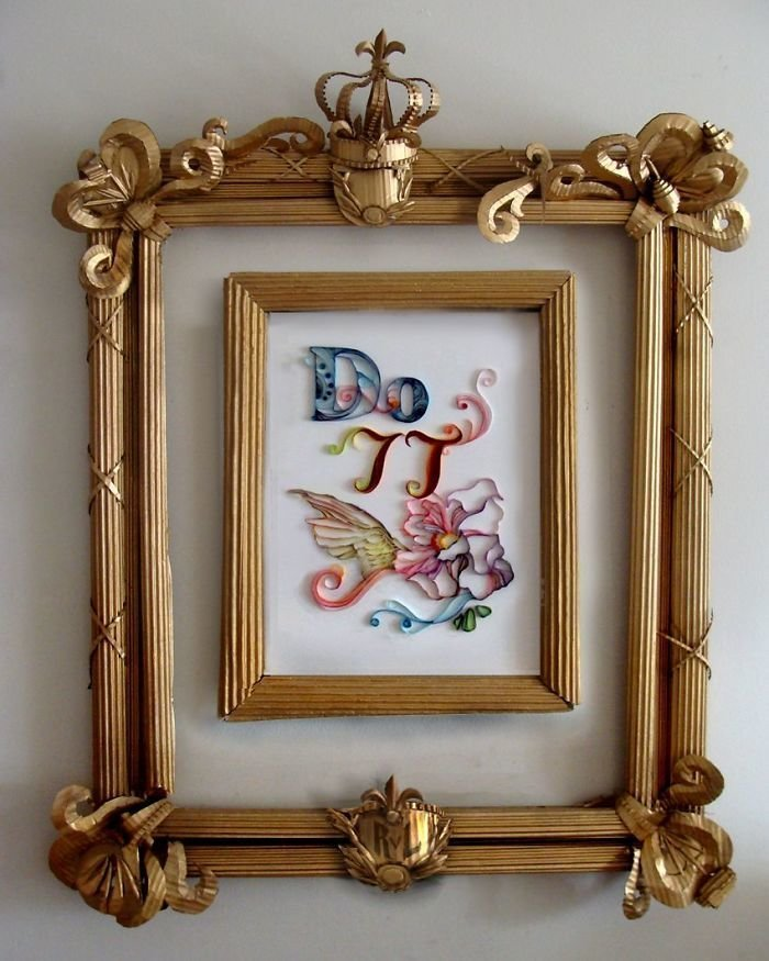 20. Рамка из гофрированного картона  идея, креатив, мастер, самоделки, своими руками, сделай сам, фото
