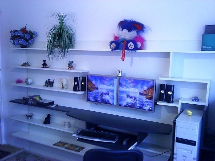 12. Полки и компьютерный стол  идея, креатив, мастер, самоделки, своими руками, сделай сам, фото
