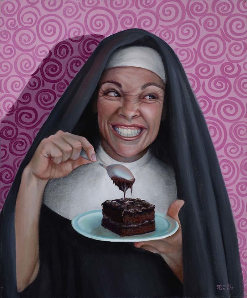 В сестре Дорис сидят свои маленькие чёртики    Кристина Рамос, Монахини, грешницы, картина, художница