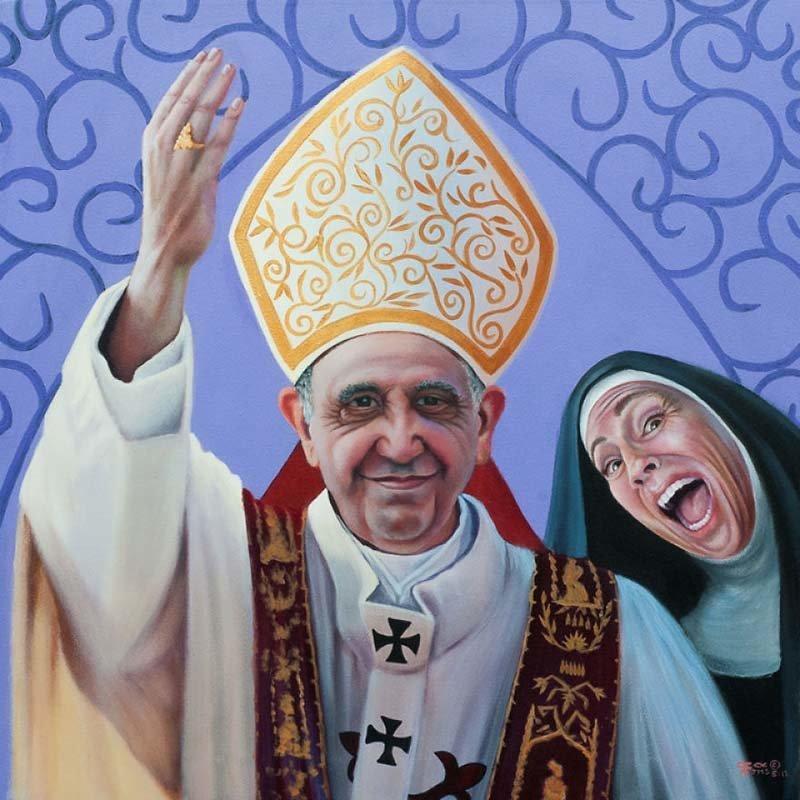 Сестра Фиби любит делать смешные фотобомбы    Кристина Рамос, Монахини, грешницы, картина, художница