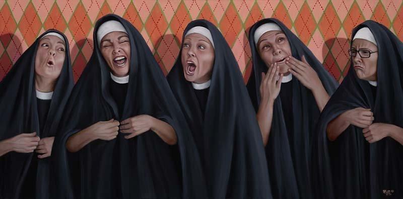 Монахини тоже знают много неприличных историй    Кристина Рамос, Монахини, грешницы, картина, художница