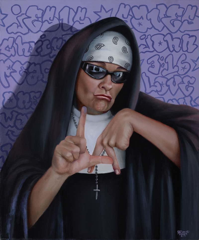 Вы можете вытащить сестру из рясы, но не рясу из сестры   Кристина Рамос, Монахини, грешницы, картина, художница