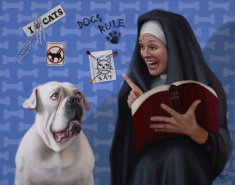 Руфус узнал, что он должен любить своего соседа, даже если его сосед — кот  Кристина Рамос, Монахини, грешницы, картина, художница