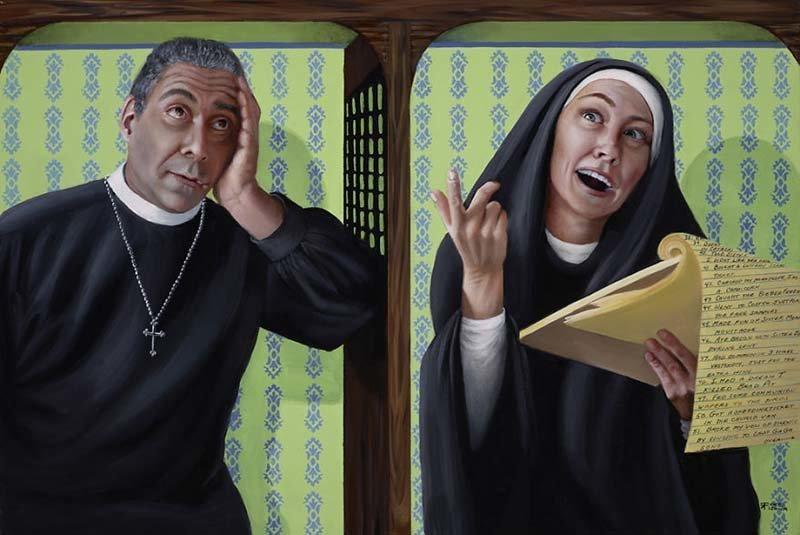 За сестрой Мэри числиться много грешков    Кристина Рамос, Монахини, грешницы, картина, художница