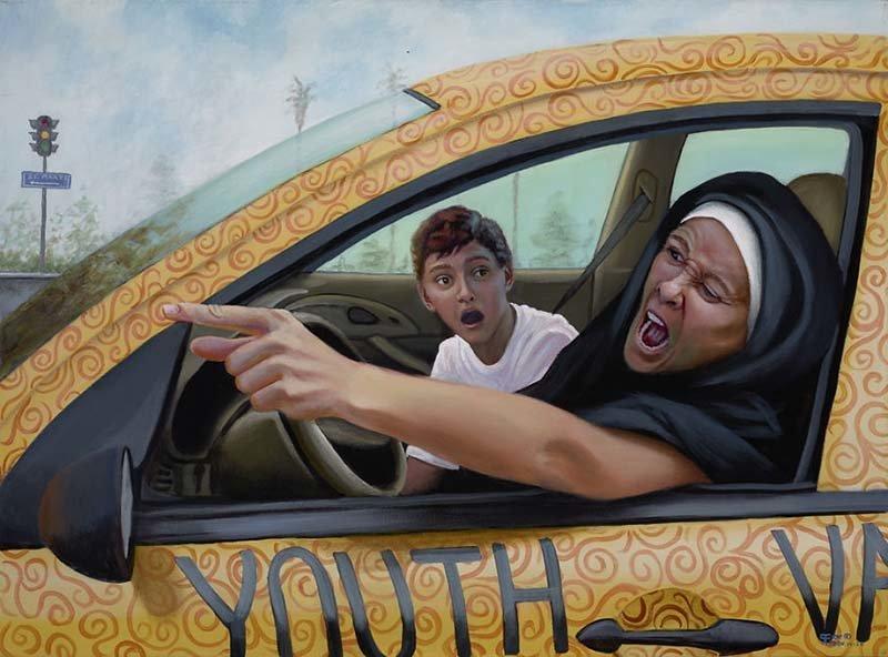 Дорогие родители, не позволяйте сестре Регине больше садиться за руль  Кристина Рамос, Монахини, грешницы, картина, художница