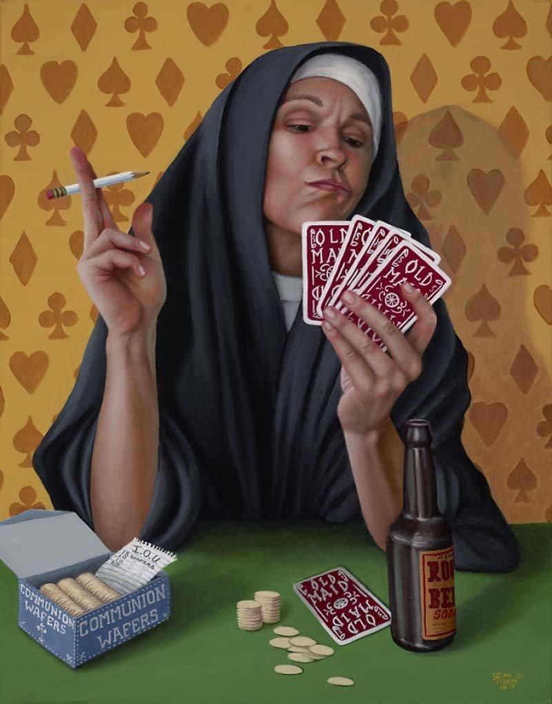 Трудно избавиться от плохих привычек   Кристина Рамос, Монахини, грешницы, картина, художница