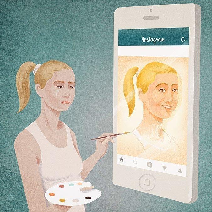 Красивая жизнь в социальных сетях иллюстрация, рисунок, современный мир, художник