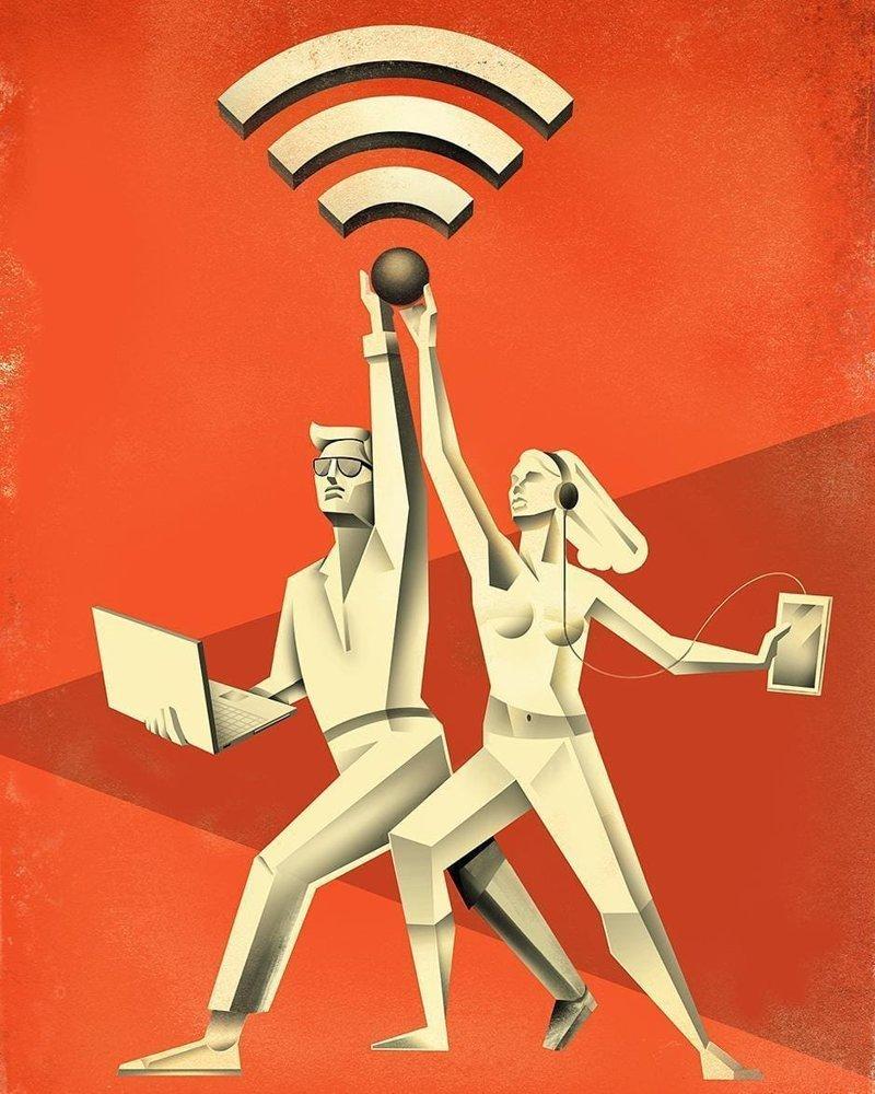 Беспроводной интернет иллюстрация, рисунок, современный мир, художник
