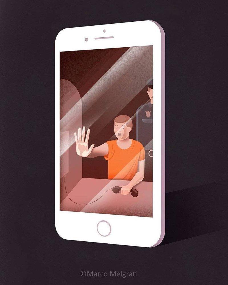 Заложник смартфона иллюстрация, рисунок, современный мир, художник