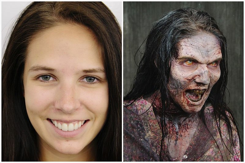 Была прелесть, стала жуть - это актриса из Ходячих мертвецов. Многим в фильме делали просто маски, или творили зомби при помощи спецэффектов, у этой актрисы грим полностью настоящий, так сказать ручной работы зомби грим, интересное, искусство, кино, макияж, мастерство