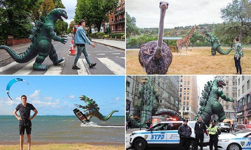 Динозавр-путешественник покорил интернет Райан Годзиллинг, дино-путешественник, динозавр, на фоне памятников, необычно, оригинально, фото, фотографии