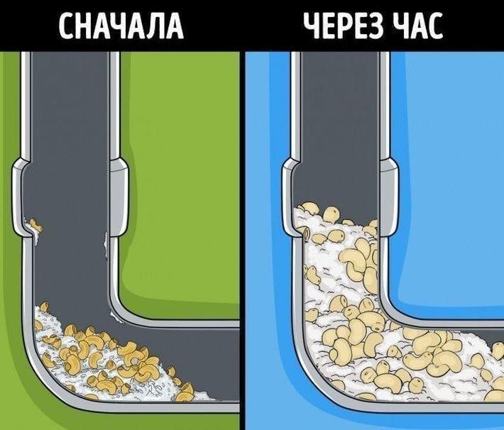 Рис и макароны засор, мусор, раковина
