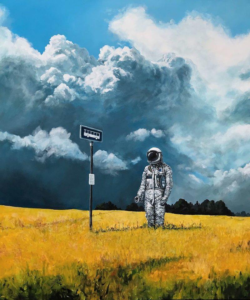 6. Автобусная остановка астронавт, искусство, картина, меланхолия, портрет, творчество, художник
