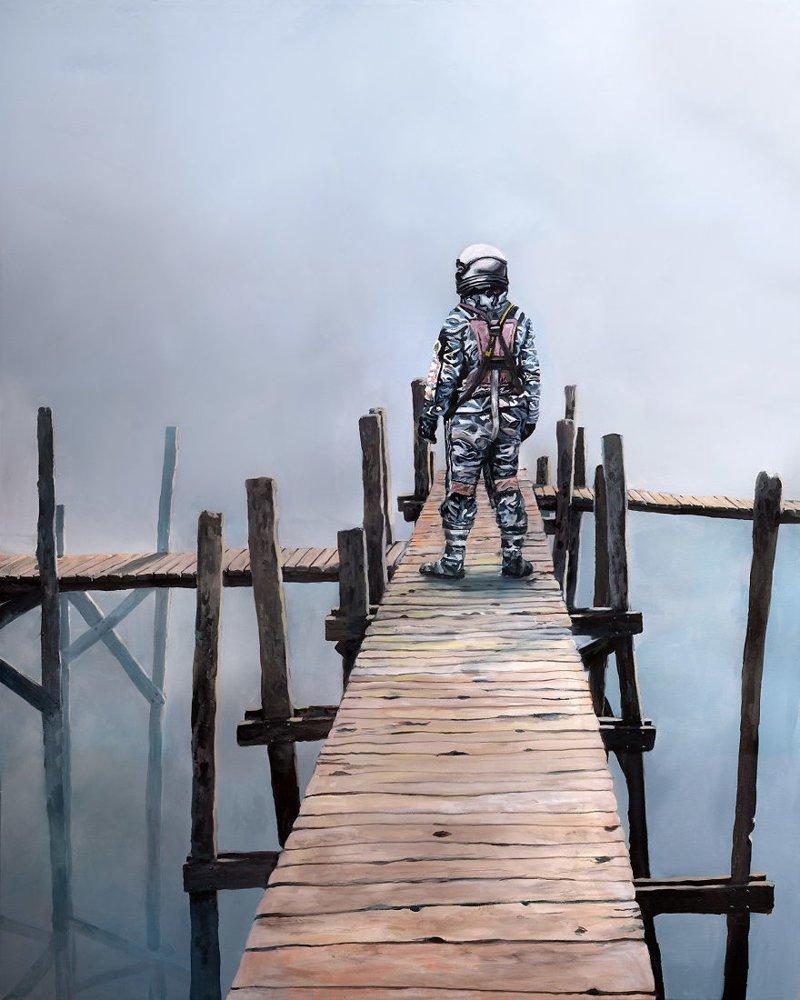 4. Монтажный мостик астронавт, искусство, картина, меланхолия, портрет, творчество, художник