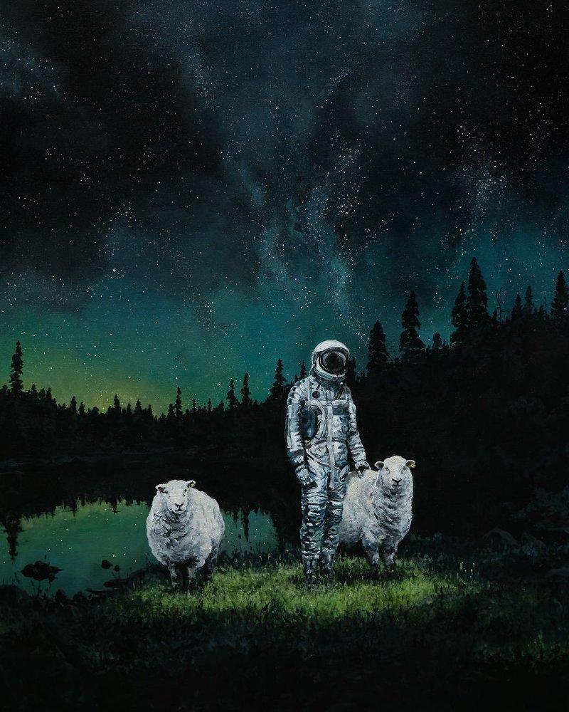 3. Ночной пастух астронавт, искусство, картина, меланхолия, портрет, творчество, художник