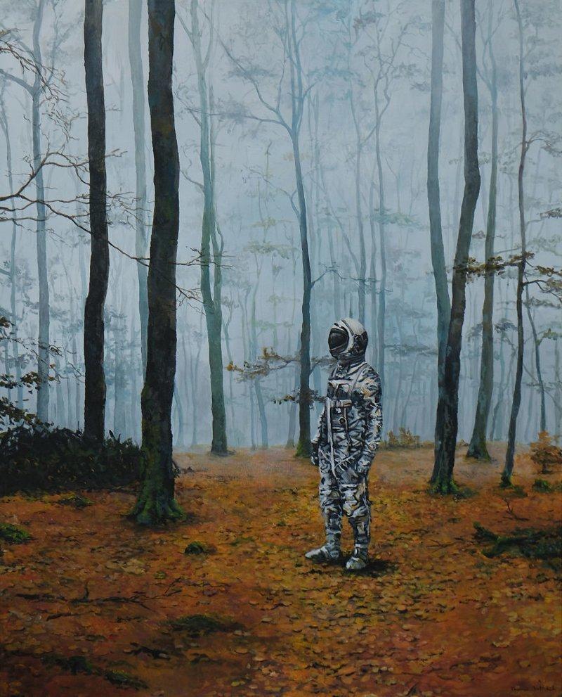 2. Астронавт в тумане астронавт, искусство, картина, меланхолия, портрет, творчество, художник