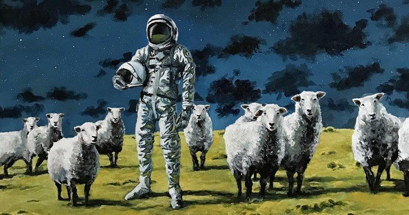 Астронавты на меланхоличных картинах Томаса Крана астронавт, искусство, картина, меланхолия, портрет, творчество, художник