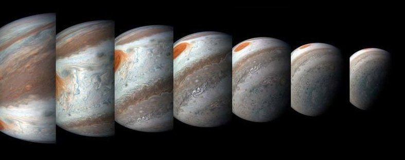 Во время каждого перийова у JunoCam есть несколько часов, чтобы с использованием техники «push-broom» сделать серию фотографий планеты… кадр, космос, красота, планета, фото, юнона, юпитер
