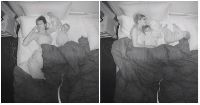 Каково мамам спать с детьми в одной кровати видео, дети, мама, милота, ночь, родители, сон