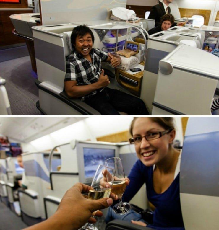 1. Пара бесплатно получила места в бизнес-классе, после того, как авиакомпания перебронировала их билеты Радость, в мире, люди, прикол, юмор