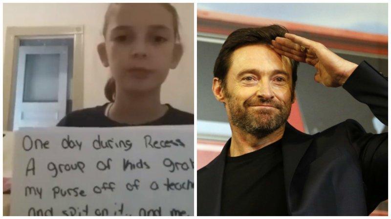 Хью Джекман поддержал девочку, которую травят в школе ynews, дети, знаменитости, интересное, поддержка, травля, фото