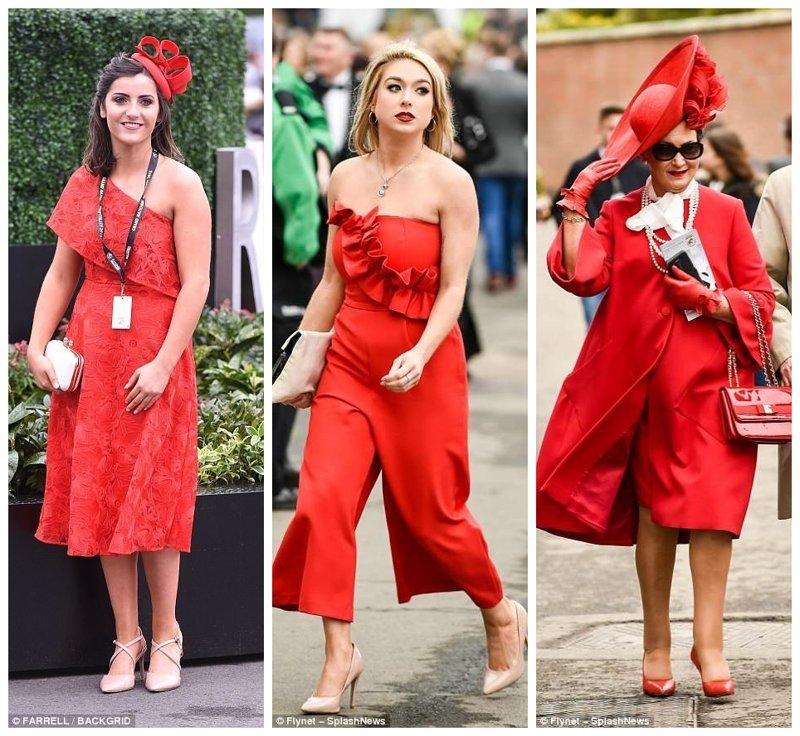Женщины в красном Эйнтри, великобритания, дамы, девушки, женщины, наряды, праздник, скачки