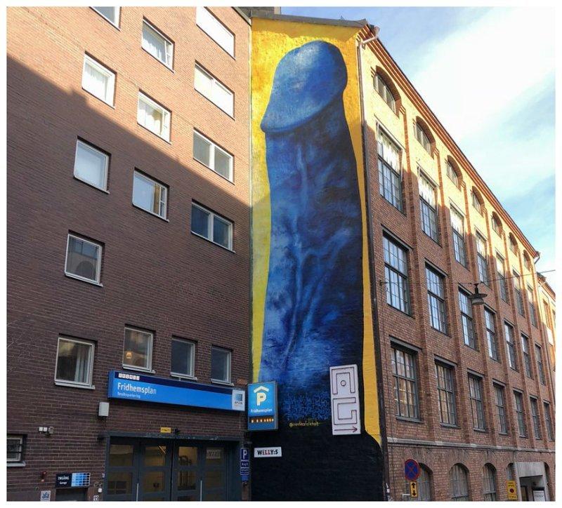 Совсем синий: в центре Стокгольма появилось изображение гигантского пениса @carolinafalkholt, ynews, творчество, художники