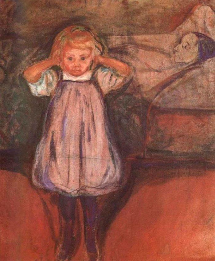 """10. """"Мертвая мать"""", Эдвард Мунк жутко, интересное, искусство, истории, картины, мистика, проклятие, художники"""