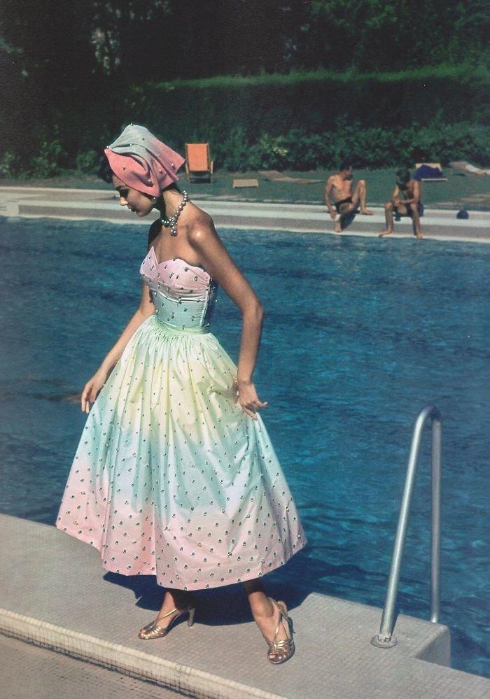 11. Модель Энн Сент-Мэри, Нью-Йорк, 1959 г. 20 век, 20 век в цвете, 50-е, 50-е года, жизнь в Америке, жизнь в сша, старые фотографии, сша