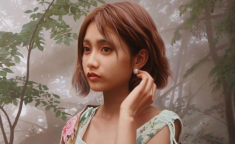Художник-фотореалист пишет портреты, неотличимые от фотографий Яцумото Ока, живопись, загадка женщины, искусство, картины, фотореализм, художник, япония