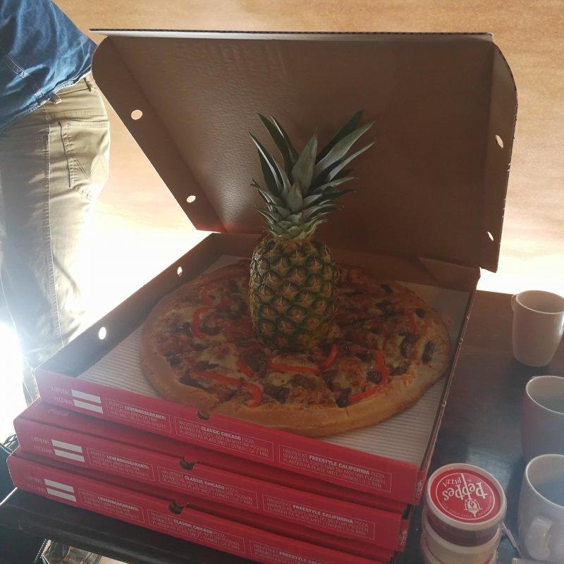 Пицца с ананасом день, животные, кадр, люди, мир, снимок, фото, фотоподборка