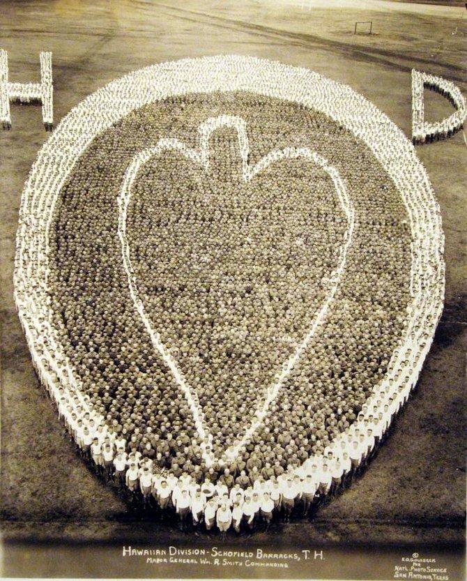 Гавайская дивизия. Шефилдские казармы. 1926 инетресное, старые забавы, факты, фигуры из людей, флешмоб