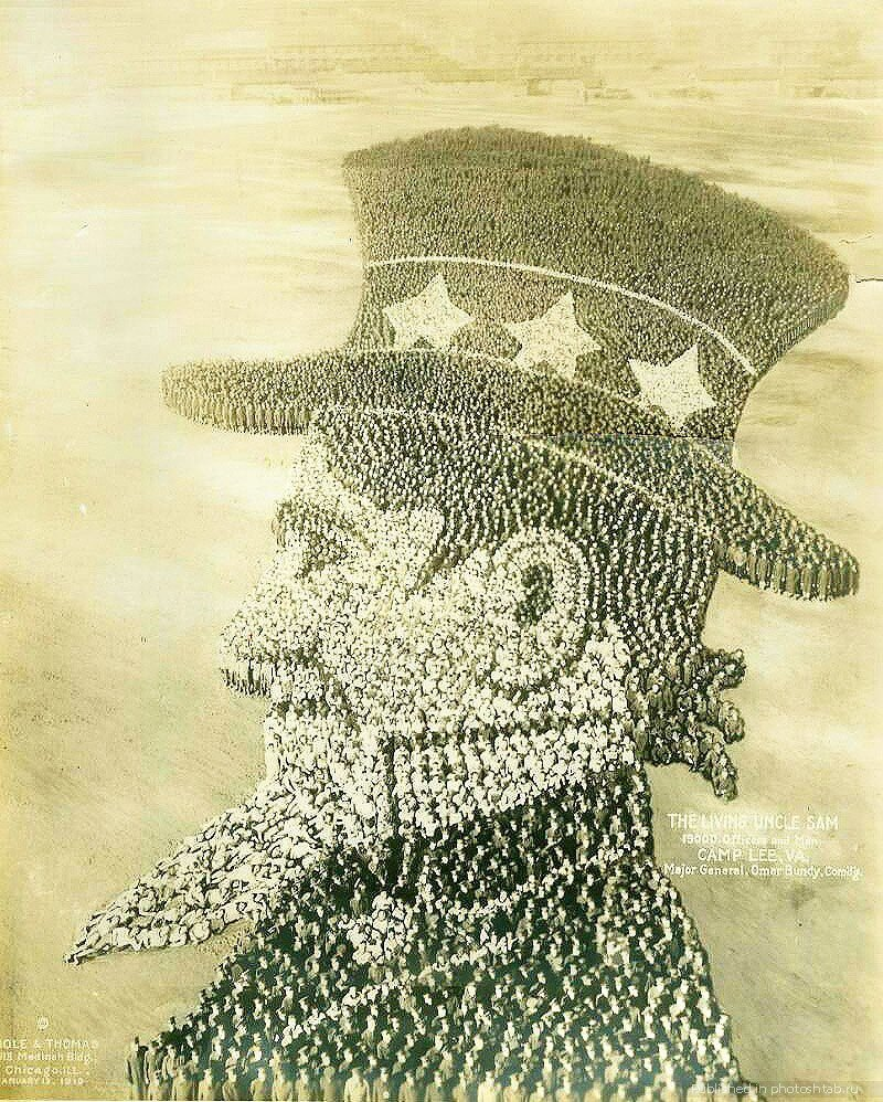 Дядя Сэм, 1918 год. 15 000... инетресное, старые забавы, факты, фигуры из людей, флешмоб