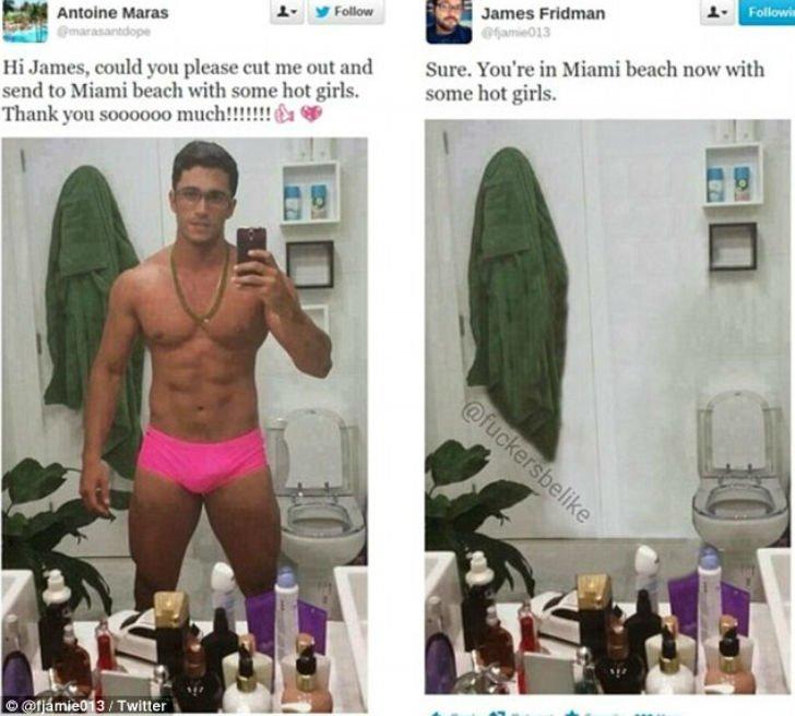 Просьба: «Ты не мог бы меня вырезать и послать на пляж в Майами с сексуальными девушками?» Вырезал и послал на пляж люди, прикол, просьба, умора, фотошоп, юмор