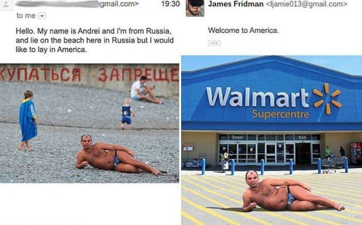 Просьба от Андрея из России: «На фотографии я лежу на российском пляже, но хотел бы лежать в Америке». Джеймс: «Добро пожаловать в Америку» люди, прикол, просьба, умора, фотошоп, юмор