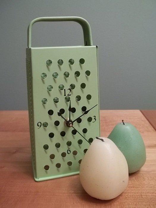 8. Часы, действительно, можно сделать из чего угодно до и после, из терки, интересно, новая жизнь старых вещей, своими руками, фото