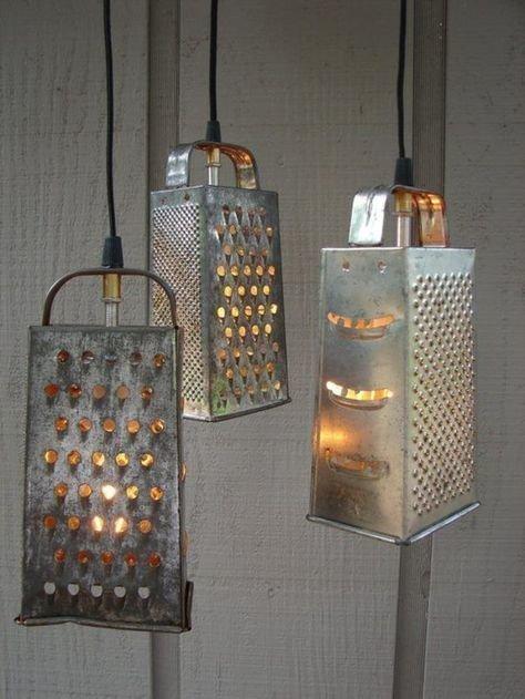 5. Необычные и простые светильники. Почему владельцы различных заведений все еще используют обычные лампы для оформления в стиле лофт? до и после, из терки, интересно, новая жизнь старых вещей, своими руками, фото